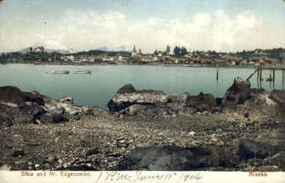 Sitka and Mt.Edgecombe - Alaska AK Postcard