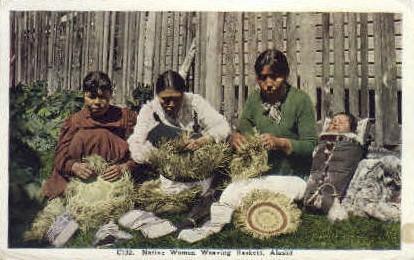 Native Women Weaving Backets - Misc, Alaska AK Postcard