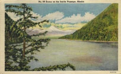 Scene on the Inside Passage - Misc, Alaska AK Postcard
