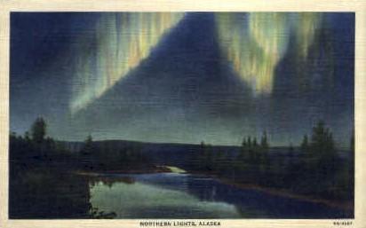 Northern Lights - Misc, Alaska AK Postcard