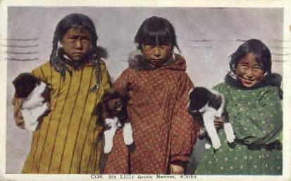 Six Little Arctic Natives - Misc, Alaska AK Postcard