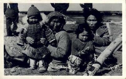 Eskimo Family - Misc, Alaska AK Postcard