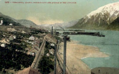Douglas City in the Distance - Treadwell, Alaska AK Postcard