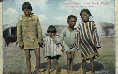 Eskimo Kids - Nome Beach, Alaska AK Postcard