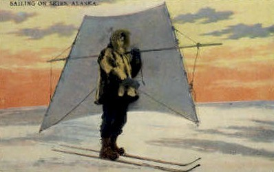 Sailing on Skies - Misc, Alaska AK Postcard
