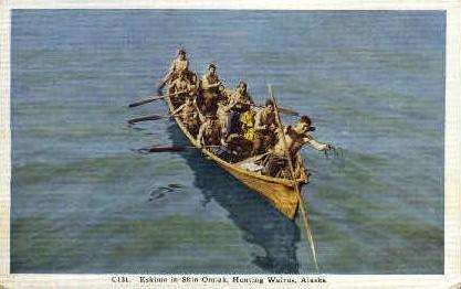 Eskimo in Skin Omiak - Misc, Alaska AK Postcard
