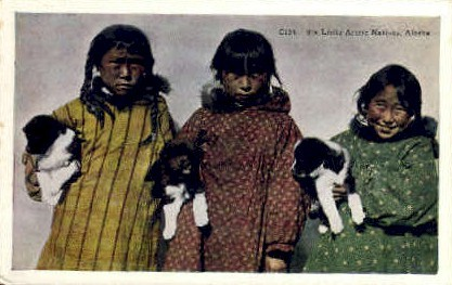 Little Eskimo Natives - Misc, Alaska AK Postcard