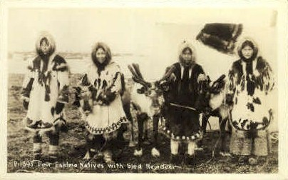 Four Eskimo Natives with Sled Reindeer - Misc, Alaska AK Postcard