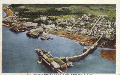Airplane View - Petersburg, Alaska AK Postcard