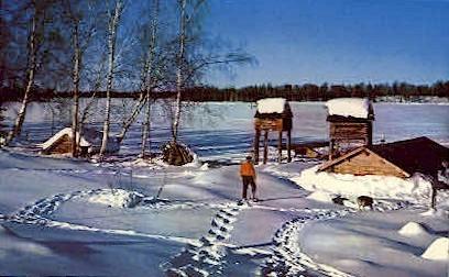 Trapper's Camp - Frozen Sucker Lake, Alaska AK Postcard
