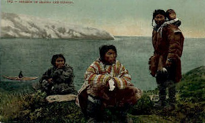 Eskimos of Slaska and Siberia - Misc, Alaska AK Postcard