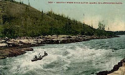 Shooting White Horse Rapids - Misc, Alaska AK Postcard