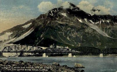Miles Glacier and Bridge - Alaska AK Postcard