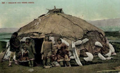 Eskimos and their Igloo - Misc, Alaska AK Postcard