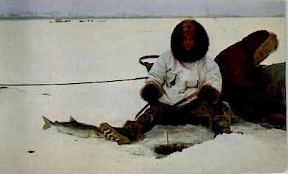 Fishing Through the Ice - Kotzebue, Alaska AK Postcard