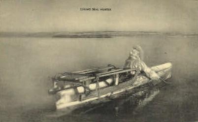 Eskimo Seal Hunter - Misc, Alaska AK Postcard