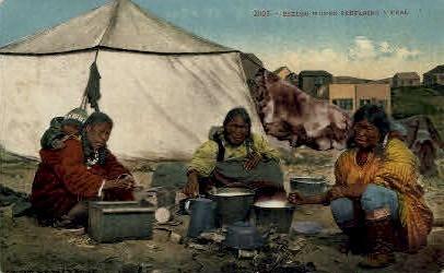 Eskimo Women Preparing a Meal - Misc, Alaska AK Postcard