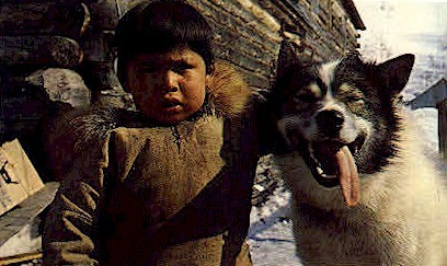 An Eskimo Boy's Best Friend - Misc, Alaska AK Postcard