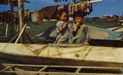Eskimo Children in Kayak - Misc, Alaska AK Postcard