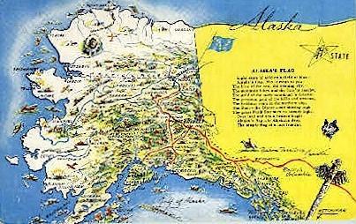 Alaska Map - Misc Postcard