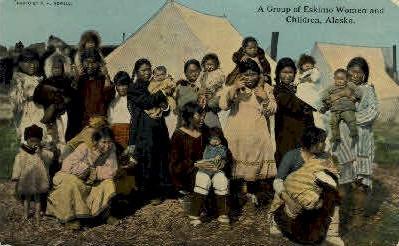A group of Eskimo Women and Kids - Misc, Alaska AK Postcard