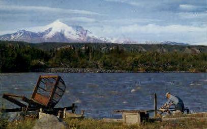 Fishwheel at Klutina River - Alaska AK Postcard