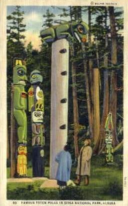Famous Totem Poles - Sitka, Alaska AK Postcard