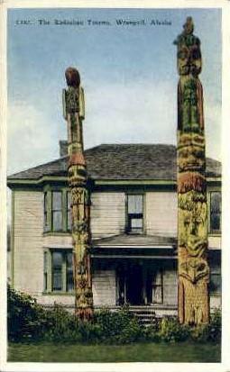Kadashan Totems - Wrangell, Alaska AK Postcard