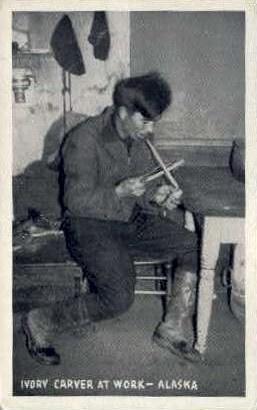 Ivory Carver at work - Misc, Alaska AK Postcard