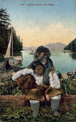 Eskimo Woman and child - Misc, Alaska AK Postcard