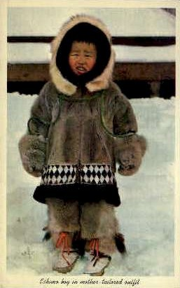 Eskimo in mother-tailored outfit - Misc, Alaska AK Postcard