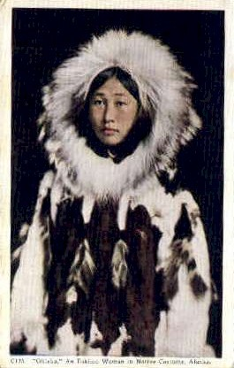 Eskimo Woman in Native Costume - Misc, Alaska AK Postcard