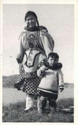 Eskimo wearing duffel parkas - Misc, Alaska AK Postcard