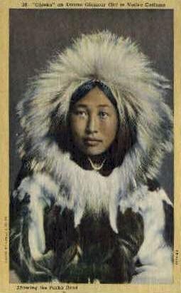 Showing the Parka Hood - Misc, Alaska AK Postcard