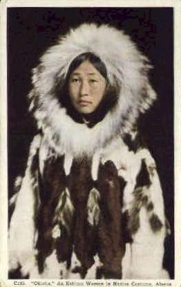 Eskimo Woman in Native Costume - Misc, Alaska AK Postcard