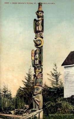 Chief Shake's Totem - Wrangell, Alaska AK Postcard