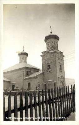 Real Photo - Russian Cemetery & Church - Misc, Alaska AK Postcard