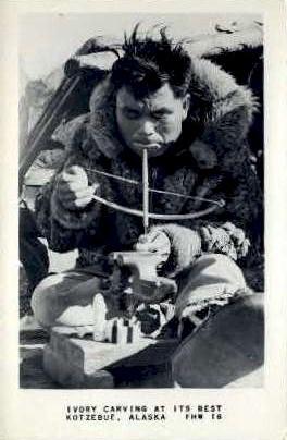 Ivory Carving - Kotzebue, Alaska AK Postcard