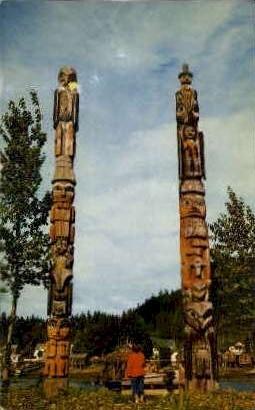 Totems of Chief Shakes Island - Wrangell, Alaska AK Postcard