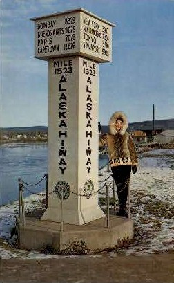Alaska Hiway Marker - Fairbanks Postcard
