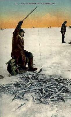 Tomcod Fishers - Misc, Alaska AK Postcard
