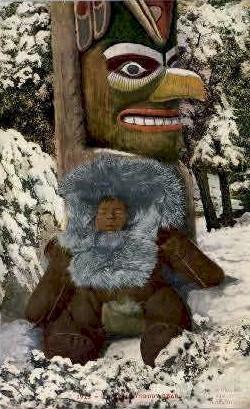 An Eskimo Teddy Bear - Misc, Alaska AK Postcard