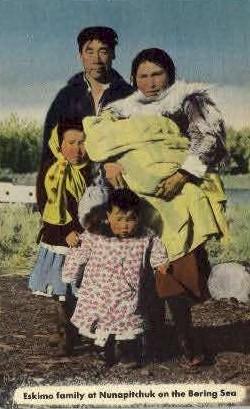 Eskimo family at Nunapitchuk - Misc, Alaska AK Postcard