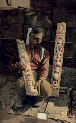 Totem Maker - Misc, Alaska AK Postcard