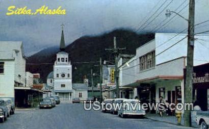 Main Street - Sitka, Alaska AK Postcard
