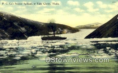 PC Co's Steamer Spokane - Taku Glacier, Alaska AK Postcard