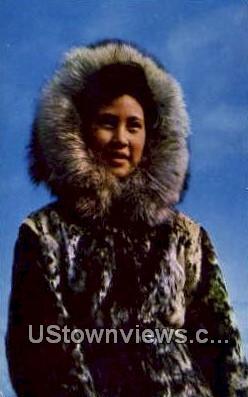 Eskimo Girl - Misc, Alaska AK Postcard