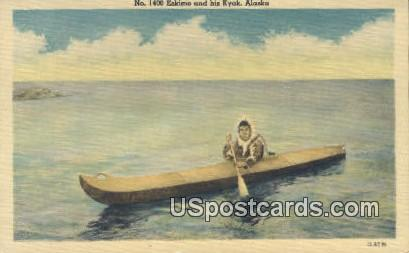 Eskimo and his Kyak - Misc, Alaska AK Postcard