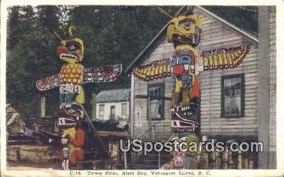 Totem Poles, Alert Bay - Vancouver Island, Alaska AK Postcard