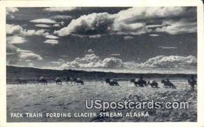 Pack Train Fording - Glacier Stream, Alaska AK Postcard